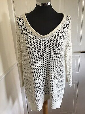 TOPSHOP Size 10 Oversized Cream Jumper Slouchy Chunky Open Weave Knit • 6.99£