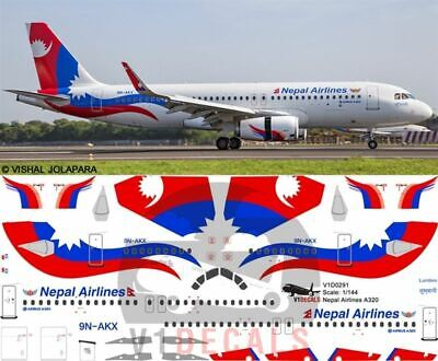 V1 Decals Airbus A320 Nepal Airlines For 1/144 Revell Model Airplane Kit V1D0291 • 10.74£