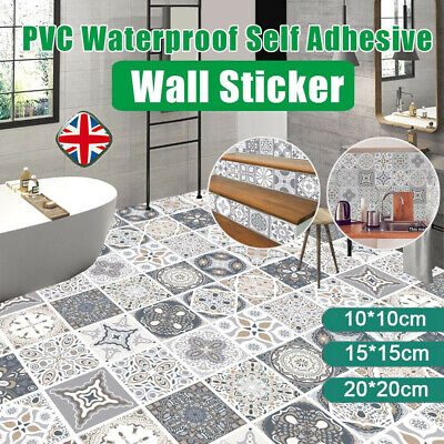 24PCS Mosaic Kitchen Tile Stickers Bathroom Self-adhesive Wall Decor Home DIY UK • 6.89£