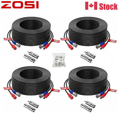 $ CDN38.80 • Buy ZOSI 4pcs 100ft Video Power Cable BNC RCA Cord Wire CCTV Security Camera System