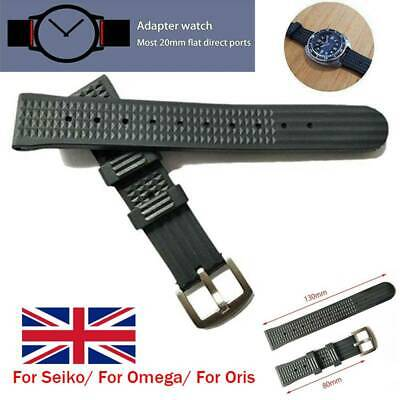 Waffle Watch Black Rubber Strap For Divers Watch Top Quality 20mm/22mm UK • 9.98£