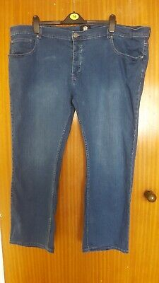 Mens Ze'enzo Stonewashed Faded Blue Jeans Size W48 L30 • 16£