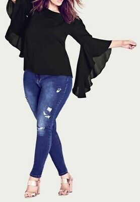 AU23.95 • Buy CITY CHIC Plus Size XS (14) ☆ OFF SHLDR FRILL BLACK BELL SLEEVE TOP ☆ BNWOT