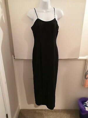 £9.99 • Buy Gorgeous Black Beaded Principles Long Dress Size 10 Cocktail Party