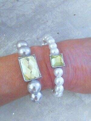 $ CDN10.67 • Buy Lot Of 2 LIA SOPHIA Pearls & Pale Yellow Rhinestone Stretch Bracelets