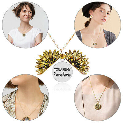 AU4.99 • Buy You Are My Sunshine Engraved Necklace Sunflower Locket Necklace For Women
