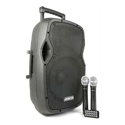 Vonyx Pa Mobile Dj Pa System Speaker Woofer 12  2 Vhf Microphone Usb Sd Remote • 219.99£