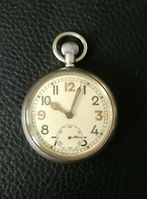 Rare Unusual WWII British Military Spec Pocket Watch - Good Working Order • 99£