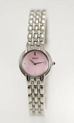 $ CDN50.68 • Buy Seiko SUJB29 Watch Womens Silver Stainless Steel Water Res Batt Pink MOP Quartz