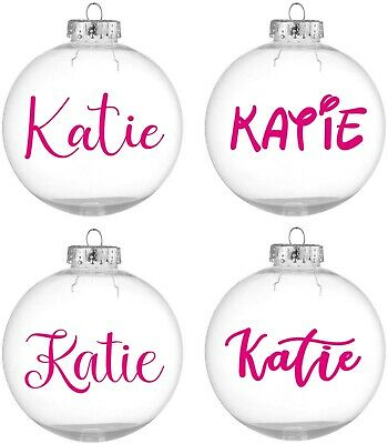 Personalised Name / Word Vinyl Sticker Decal Christmas Bauble Xmas • 2£