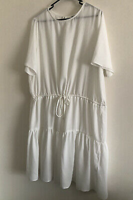 AU19 • Buy ASOS DESIGN Ivory White Sheer Tiered Smock Dress With Gathered Waist Size 16