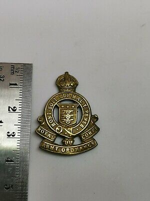 Kings Crown Royal Army Ordnance Corps Brass Collar Badge No Fasteners • 1.50£