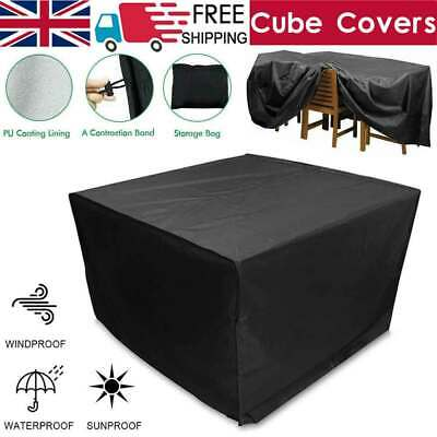 Heavy Duty Garden Patio Furniture Table Cover For Rattan Table Cube Set Outdoor • 10.39£