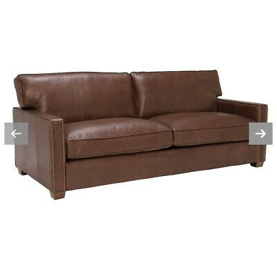 Timothy Oulton Viscount William Halo 3 Seater Leather Sofa - Rrp £4,500 • 1,600£