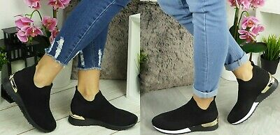 Ladies Womens Slip On Sock Wedge Sneakers Classic Jogging Pumps Shoes Trainers • 17.99£
