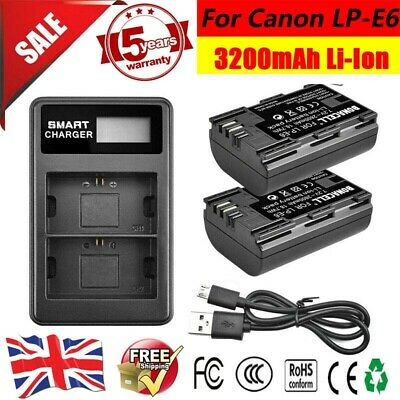 2x LP-E6 Battery + LCD Dual Charger For Canon EOS 5D Mark II III IV 6D 7D 80D PD • 17.49£