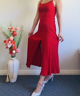 AU37.50 • Buy Vintage Red Midi Dress Sexy Cocktail Party Christmas Valentines Fit Size 8 10