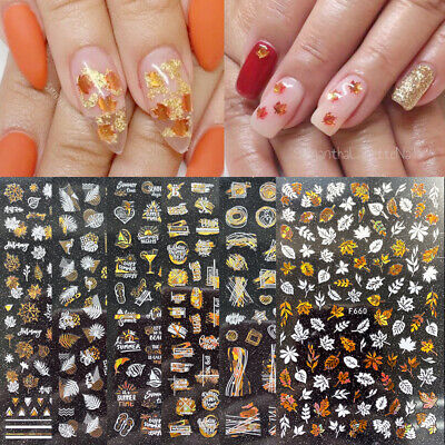 3D Nail Stickers Gold Laser Maple Leave Transfer Decals Nail Art Decoration DIY • 2.89£