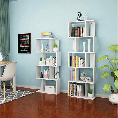 3/4/5 Tier S Shape Bookshelf CD DVD Storage Display Rack Wooden Stand Bookcases • 32.99£