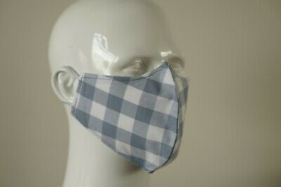 4 Ply Cotton And Silk Face Mask Blue Gingham • 6£