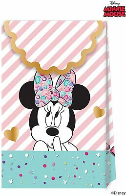6 X Disney Minnie Mouse Paper Bags Party Supplies Treat Empty Gift Girls • 2.35£