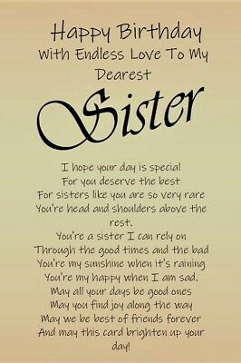 £3.99 • Buy NEW 'To My Dearest Sister' - A5 Birthday Card For Special Sister Keepsake Love