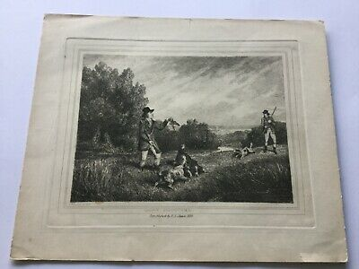 Antique Samuel Howitt Etching Print - 'Snipe Shooting' - F J Mason 1834 • 19.95£