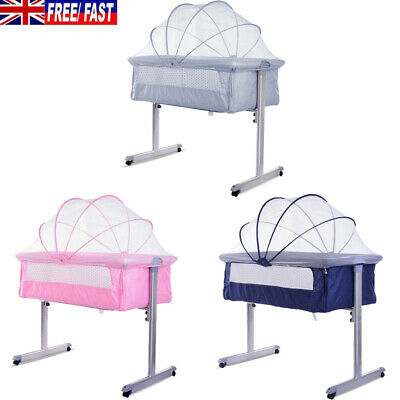 New Baby Cots Sleeping Crib Bedside Cot Bed Steel With Mattress Next To Parents • 59.99£