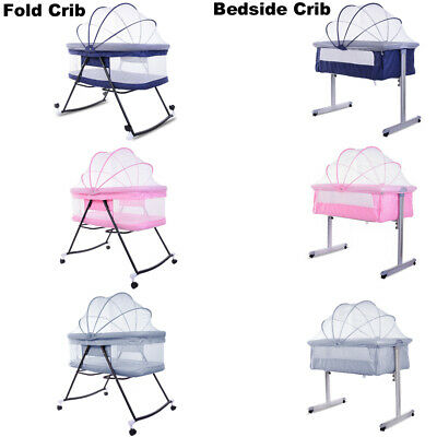 Side Sleeping Fold/Bedside Crib Baby Crib Cot Bed Fast Delivery-Blue Pink Grey • 59.99£