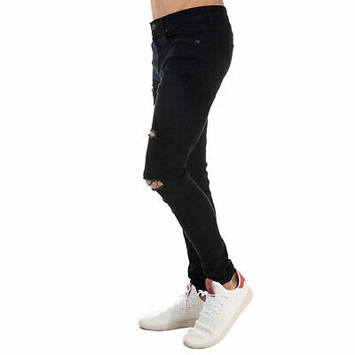 Ringspun Mens Hercules Super Skinny Fit Jeans W30 L34 Black Distressed Stretch • 20£