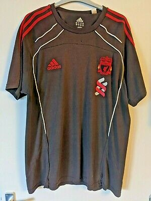 ADIDAS: Liverpool FC, T-shirt, Brown / Striped Red, Size 44-46 R, UK • 7.50£