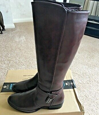 Ladies Long Leather Boots Size 4.5 Burgundy • 21£