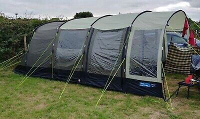 Kampa HAYLING 6 6-Person Tunnel Tent - Poled - Green - Used • 80£