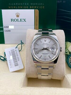 $ CDN9076.36 • Buy Rolex Datejust 116200 Silver Dial Stainless Steel Box Papers 2018