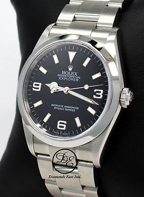 $ CDN8852.40 • Buy Rolex Explorer I 114270 Stainless Steel Oyster Black Dial Watch PAPERS *MINT*