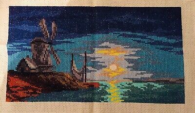 Finished-Handmade Cross Stitch-High Quality-Washable-Seascape-5-month To Finish • 14.99£