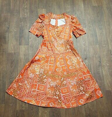 AU71.31 • Buy 1970s Vintage Orange Printed A-Line Dress UK Size 12, Vintage Clothing