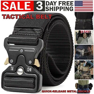 $10.99 • Buy Tactical Belt Quick Release Metal Buckle Men Military Style Heavy Duty Waistband