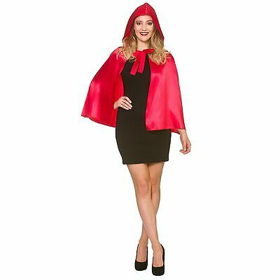 £4.79 • Buy Short Satin Hooded Cape Red Riding Hood Adults Womens Fancy Dress Costume