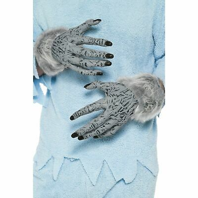 Grey PVC Werewolf Hands With Fur Mens Adults Fancy Dress Costume Accessory • 12.59£