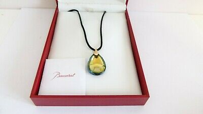 Baccarat 18ct Yellow Gold Mount Small Yellow Psydelic Pendant Necklace - Boxed • 185£