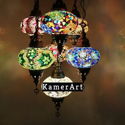 £129 • Buy Moroccan Chandelier Ceiling Lamp Mosaic Mix Colours Hanging Lamp 7 Medium Globe