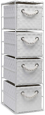 Home 4 Drawer Basket Storage Tower Unit Bedroom Bathroom Rattan Slim Wicker • 26.95£