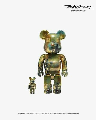 $240 • Buy MEDICOM BE@RBRICK (Bearbrick) PUSHEAD #5 Gold 100% & 400% OS *ORDER CONFIRMED*