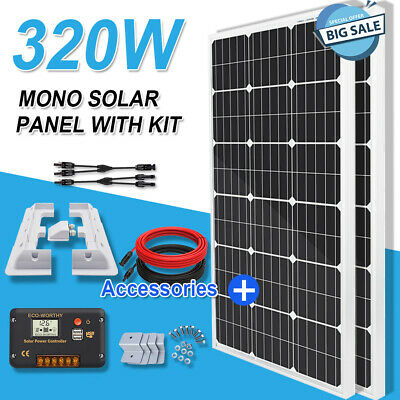 AU389.99 • Buy 300W 160W Watt Solar Panel Kit Charging Battery With RV & Z Brackets For Camping