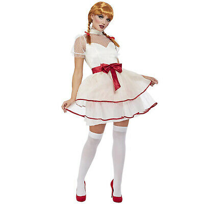 Ladies Annabelle Doll Costume Adult Halloween Creepy Porcelain Fancy Dress Outfi • 21.95£