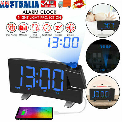 AU39.31 • Buy Clock Projection Projector Blue LED Digital Clock FM Radio Alarm Snooze Dimmable