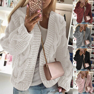 Womens Bubble Bobble Sleeve Knitted Cardigan Chunky Knit Jumper Winter Jacket   • 15.57£