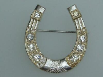 Charming Late Art Deco 30's Vintage White Diamante Lucky Horseshoe Brooch • 14.99£