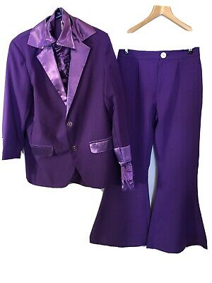 1970's Purple Gangster Pimp Suit With Satin Shirt Small • 22.50£
